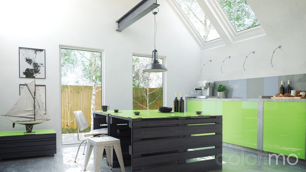 Szkło w kuchni - Colorimo Stalowy i Colorimo Limonka