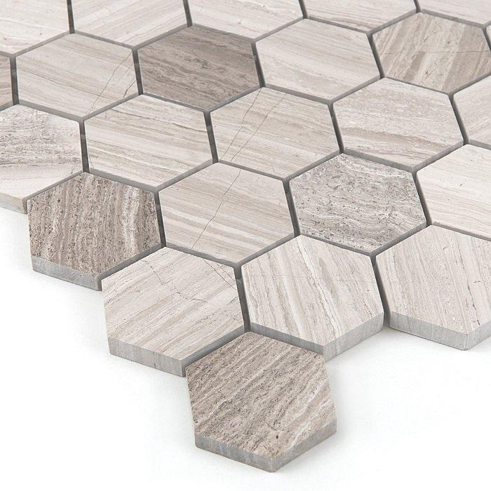Woodstone GREY Hexagon 48 - kamienna mozaika DUNIN