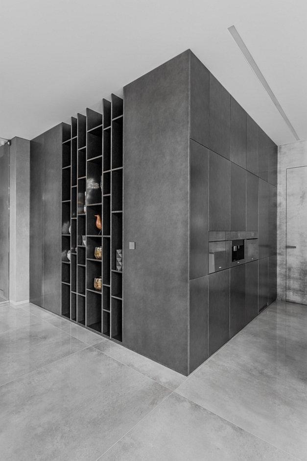 Kuchnia płynnie przechodząca w pokój - projekt