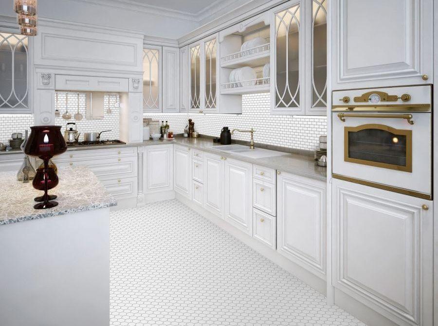 Płytki cegiełki oraz heksagonalne w kuchni