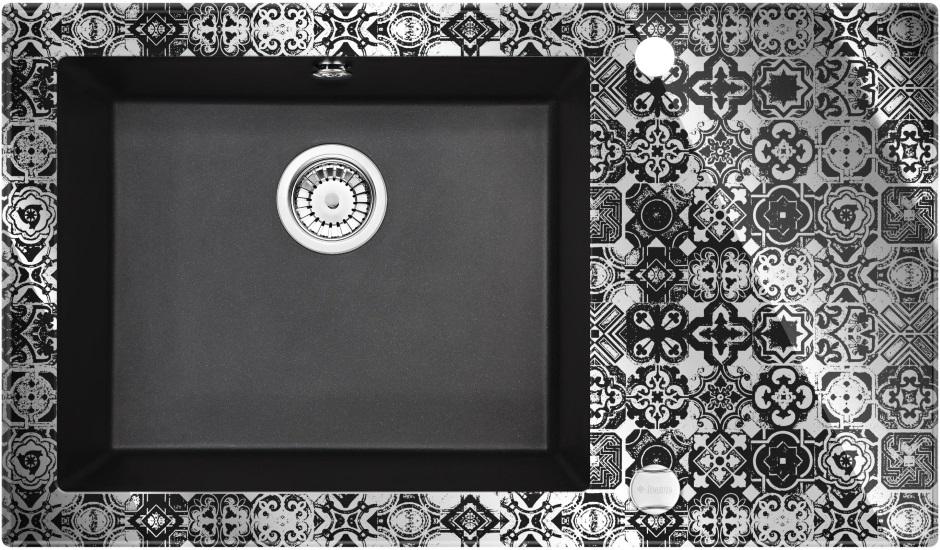 Deante Capella Precious - szklano-granitowy zlewozmywak platynowy z efektem lustrzanym
