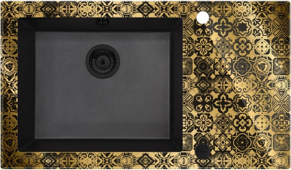 Deante Capella Precious - szklano-granitowy zlewozmywak złoty