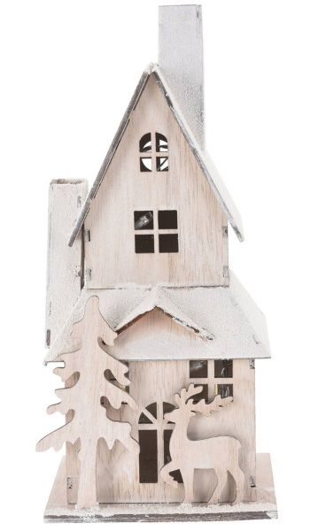 drewniany domek z led