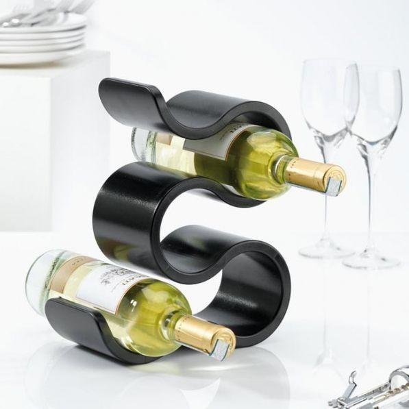 Stojak na wino plastikowy KOZIOL BOA CZARNY 28,5 cm
