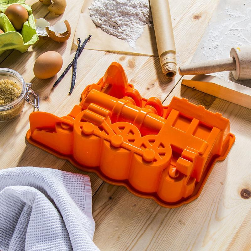 forma do pieczenia silikonowa lokomotywa pomarańczowa