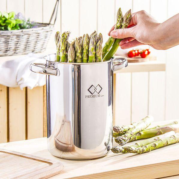 Garnek do gotowania szparagów stalowy NEREZ SREBRNY 3,2 l