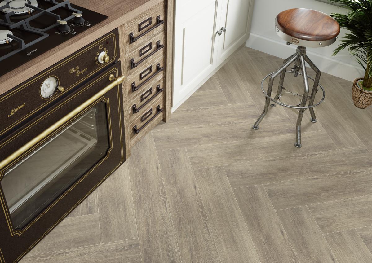 gresowa podłoga w kuchni - płytki CATALEA BEIGE Cerrad