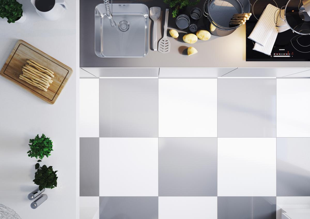 gresowa podłoga w kuchni - płytki Cerrad Cambia gris&white lappato