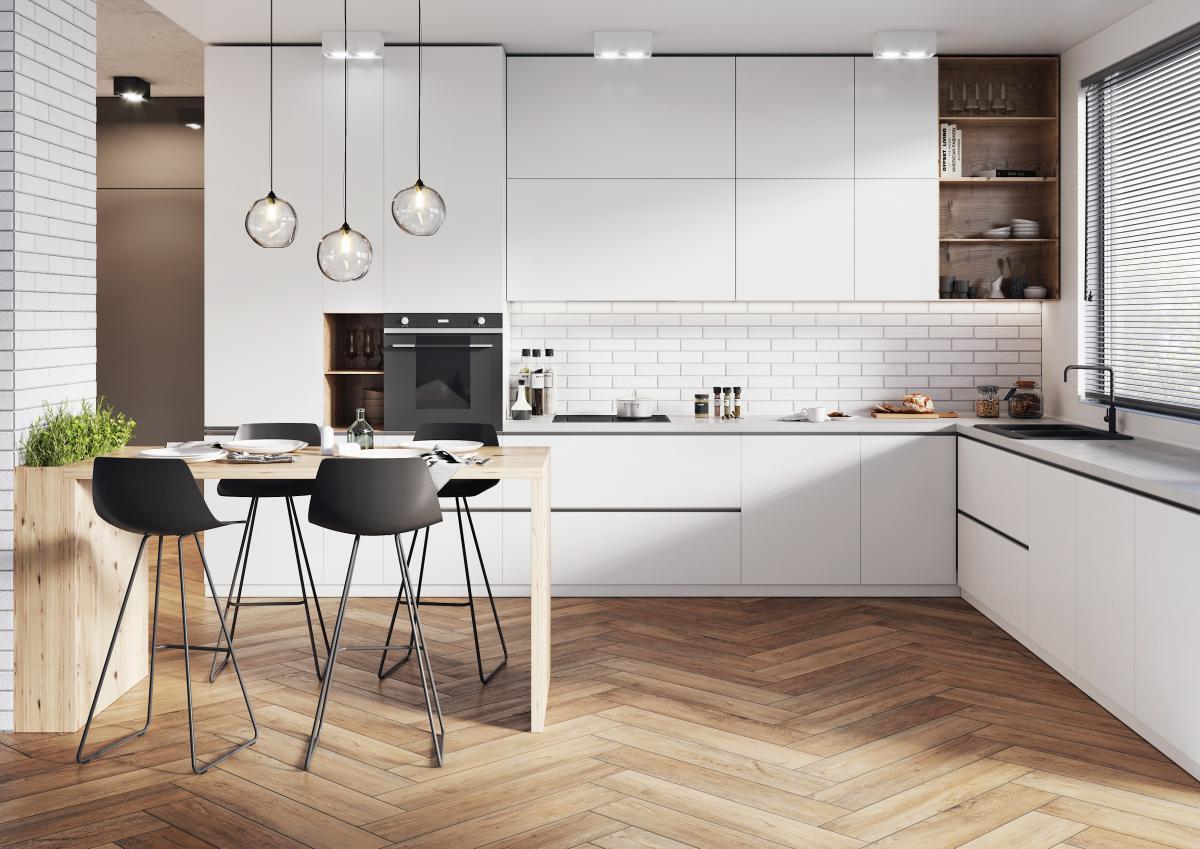 Cerrad - gresowa podłoga w kuchni - płytki Fuerta honey imitujące drewno