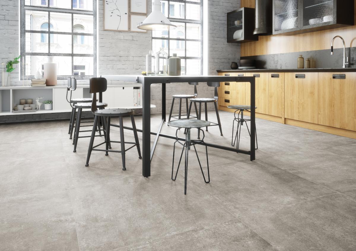 gresowa podłoga w kuchni - płytki Montego dust Cerrad