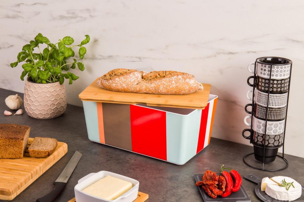 kolorowy chlebak z bambusową deską - Emako.pl