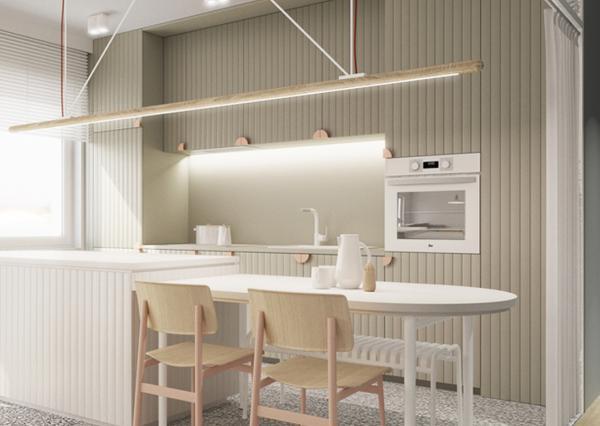 Kuchnia w bieli z białym sprzętem AGD