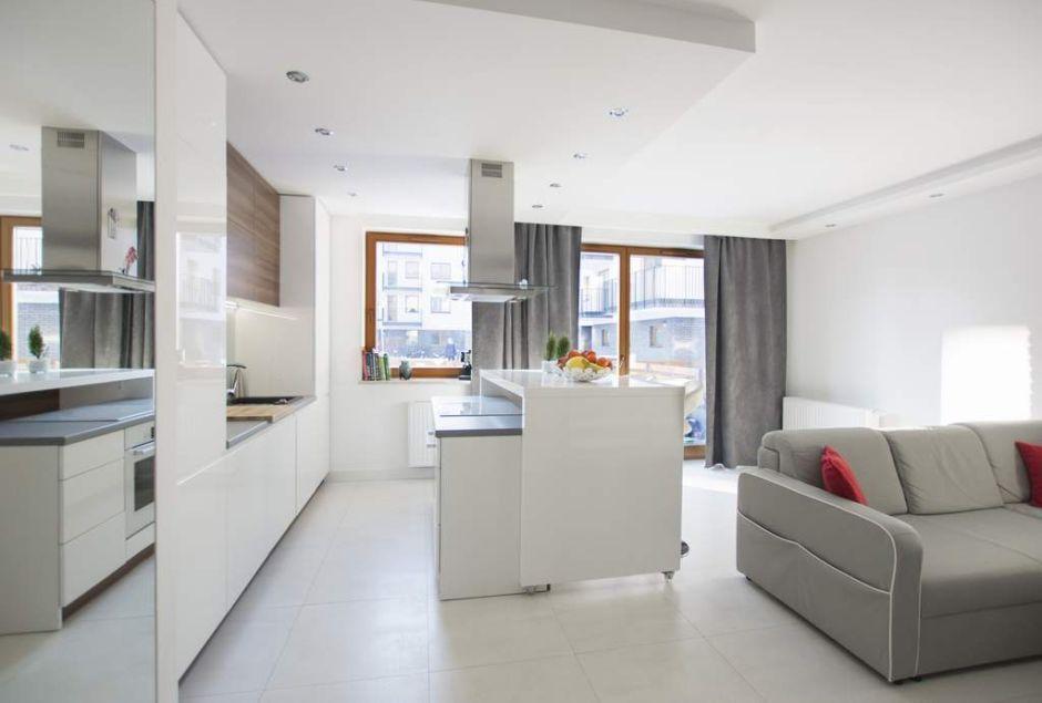 Kuchnia w bloku połączona z pokojem