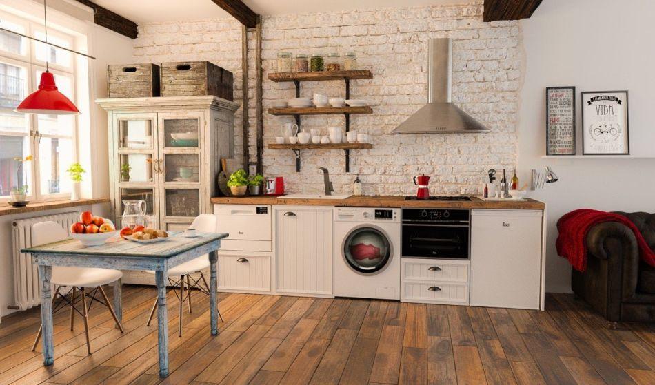 Kuchnia w stylu rustykalnym kuchnia w stylu kuchenny for Mueble para lavadora y lavavajillas