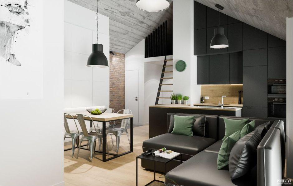 Salon połączony z jadalnią i kuchnią
