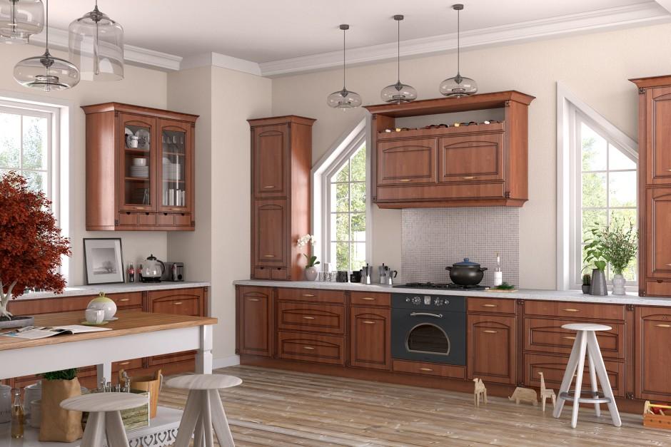 Klasyczna wersja drewnianych frontów kuchennych