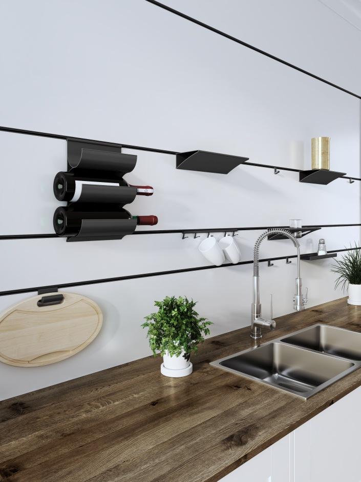 Relingi kuchenne - przechowywanie nad blatem poza szafkami