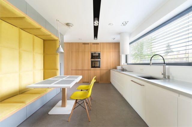 Max Kuchnie - Dekor Plus - nowoczesna kuchnia z tapicerowaną wnęką