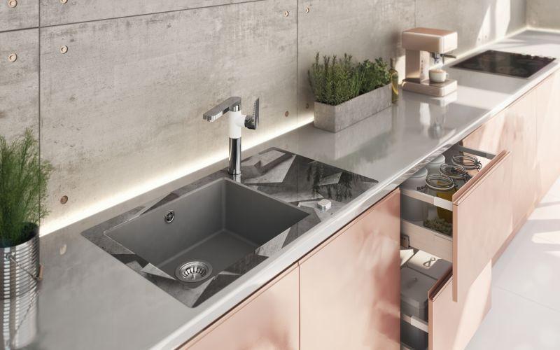 Pastele i beton - aranżacja nowoczesnej kuchni