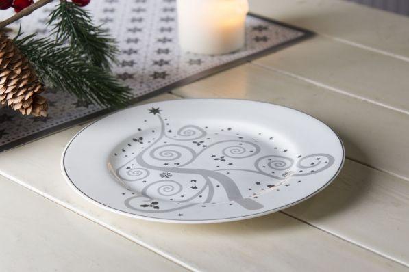 Talerz deserowy porcelanowy SREBRNE ŚWIĘTA 19 cm