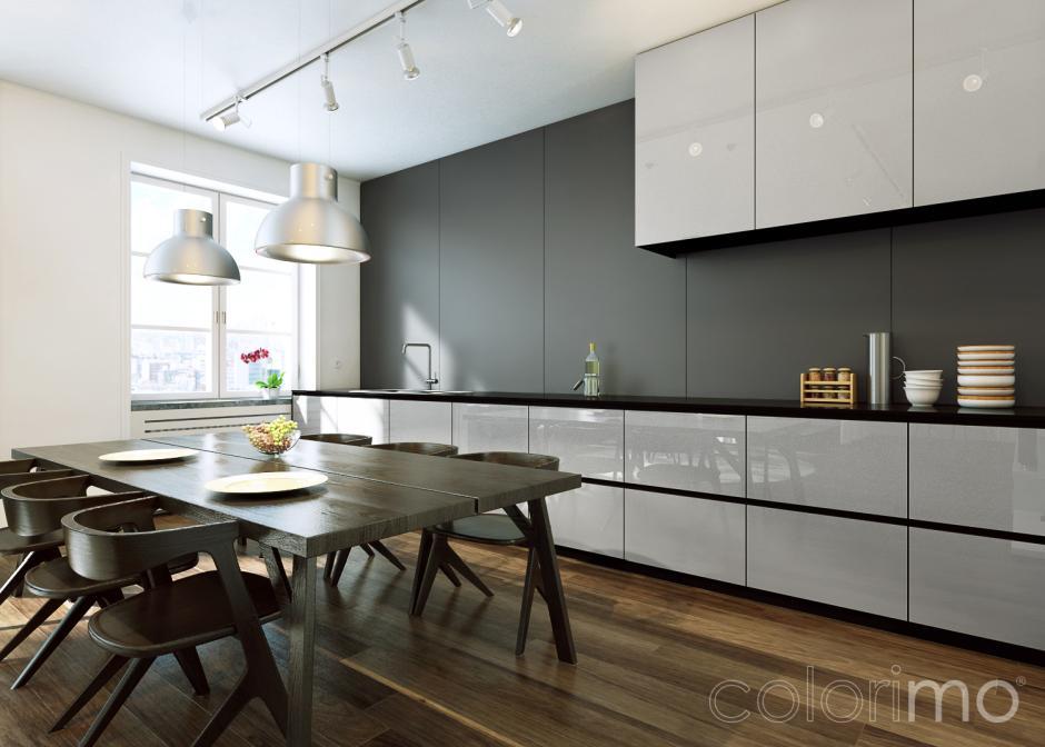 Szara kuchnia w nowoczesnym stylu  kuchnia w stylu   -> Szara Kuchnia Jaki Kolor Ścian