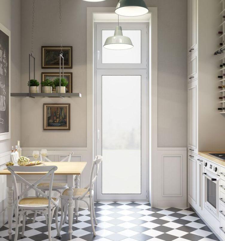 Biało-czarna szachownica na podłodze w jasnej kuchni