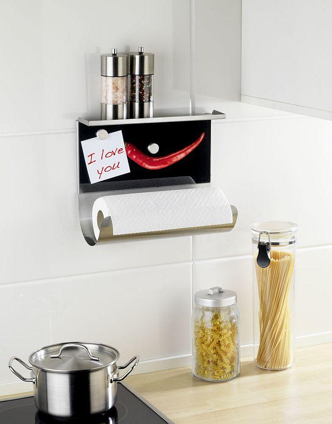 Uchwyt na ręcznik papierowy do zawieszenia nad blatem kuchennym z półką