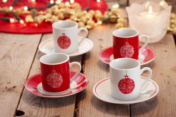 Komplet 4 filiżanek do espresso CHRISTMAS BAUBLE
