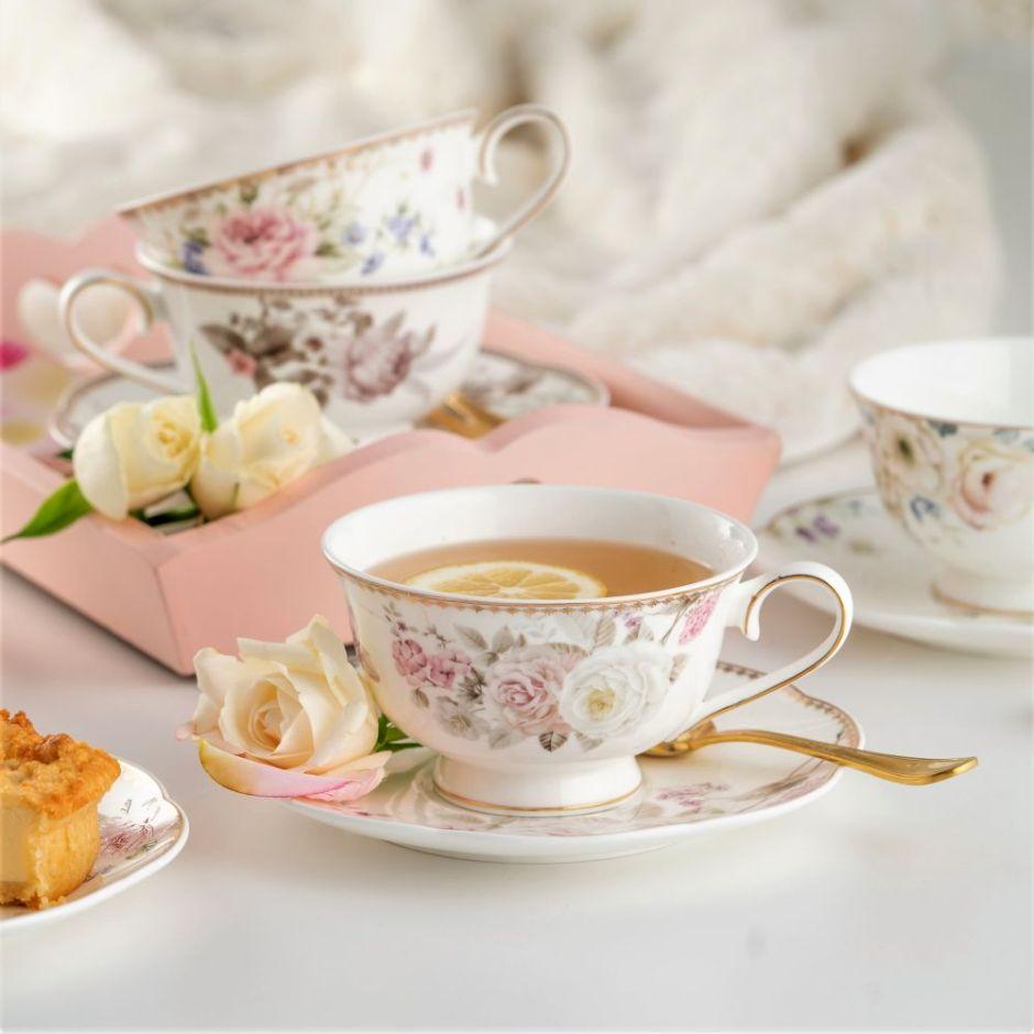 Piękna filiżanka do herbaty porcelanowa ze spodkiem CHARLOTTE