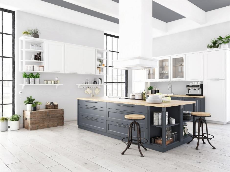 Biała podłoga w kuchni z efektem postarzania