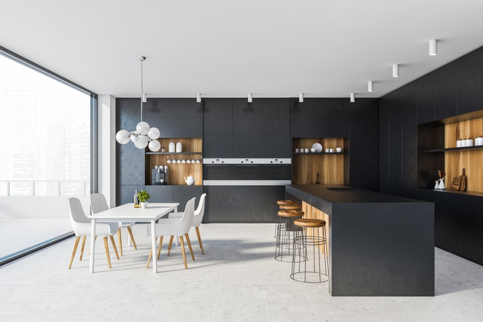 Czarne fronty z czarnym blatem w nowoczesnej kuchni