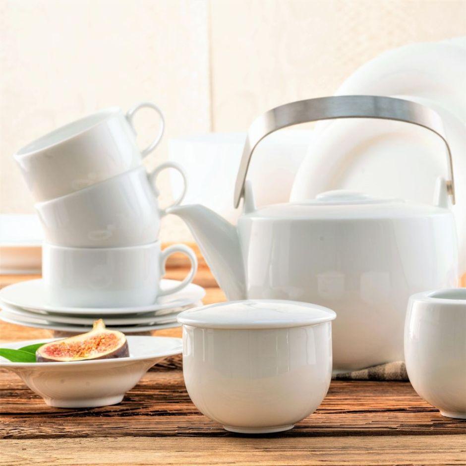 Serwis do herbaty porcelanowy na 6 osób PLUS WHITE