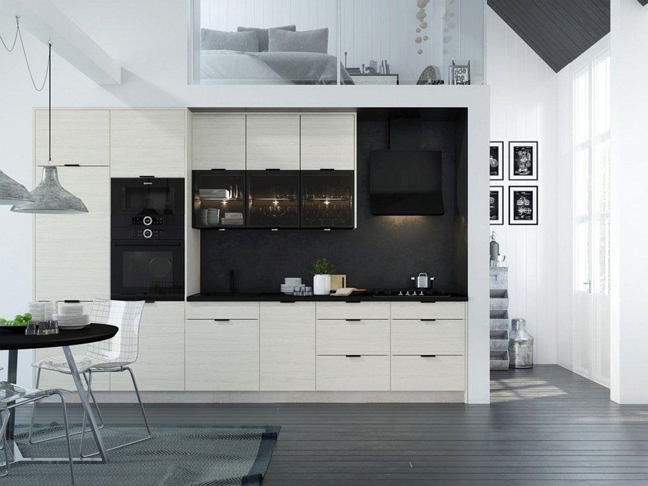 Layman kuchnia biała z ciemnym blatem
