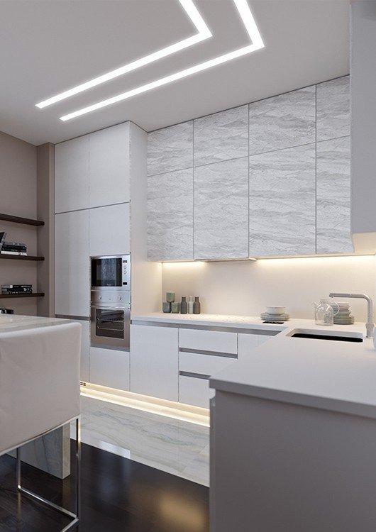 Nowoczesne linie światła LED z efektem jednolitego świecenia na całej długości
