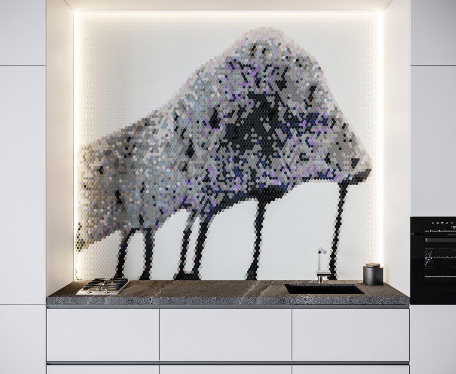 Nowoczesna aranżacja ścian w kuchni - obrazy z mozaiki