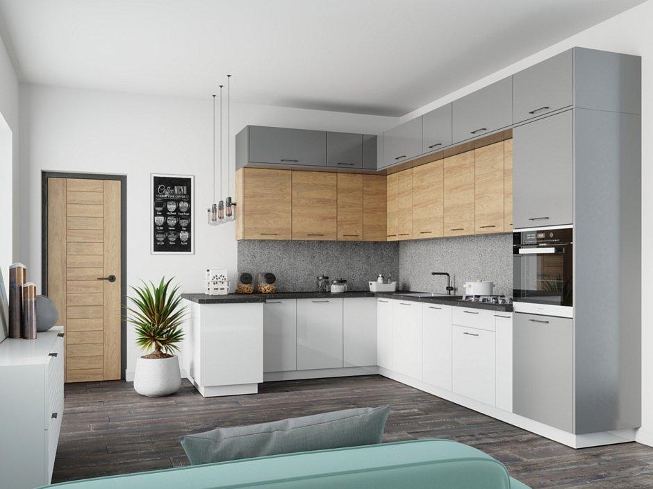 Pomysł na szarą kuchnię - połączenie z bielą i drewnem